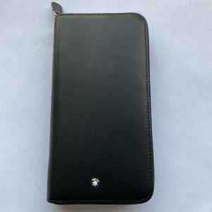 Mens Montblanc Black leather Long Clutch  Wallet
